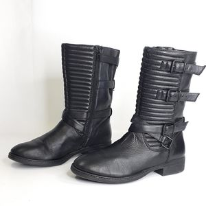 Arturo Chiang Leather Boots Quilted Belted Black 8